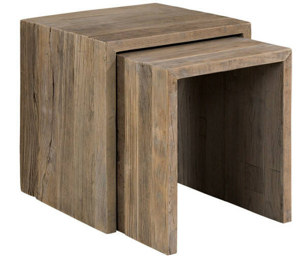 Artwood Bison Sidetable 2 Set, Solid Elm