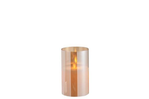 LEDLAMPE GLÄNZEND GLAS GOLD S (7,5x7,5x12,5cm)