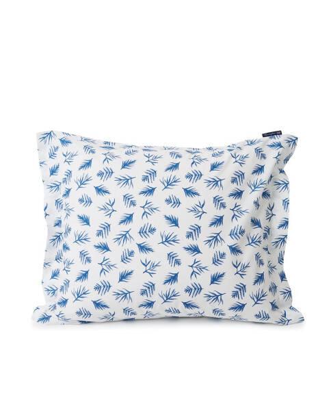 Kissenbezug Printed Leaves Bio Baumwolle Poplin Blau