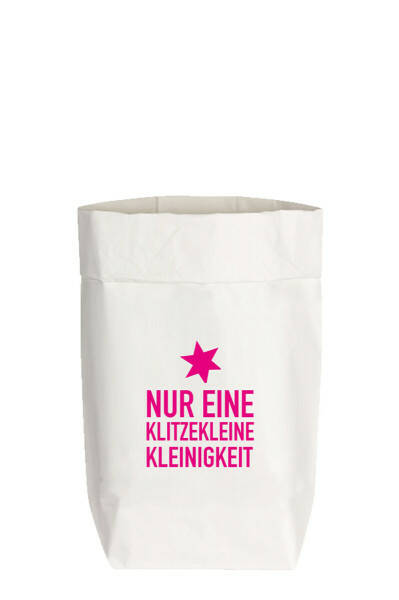 """Paperbags S Weiß """"NUR EINE KLITZEKLEINE KLEINIGKEIT"""", Neon Pink"""