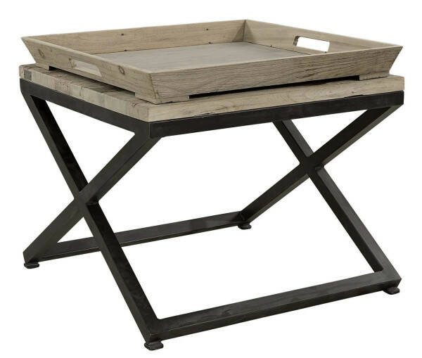 Artwood Sidetable Tray, Solid Elm/Iron