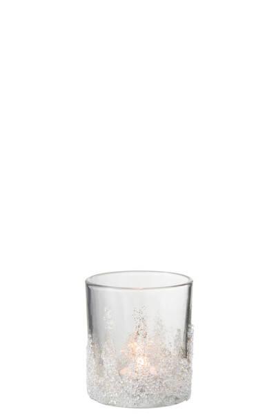 Teelichthalter Zucker, M, Glas (9x9x10 cm)