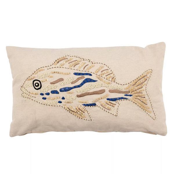Kissenbezug Fisch, Beige