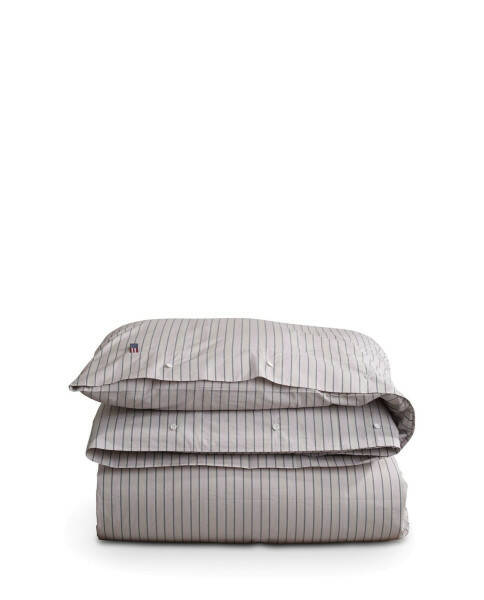 Gestreifte Popeline-Bettdecke, grau weiß
